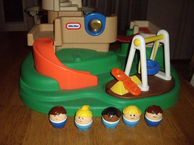 Vintage Little Tikes Playground Swing Slide Teeter Totter 5 Children Figures | eBay