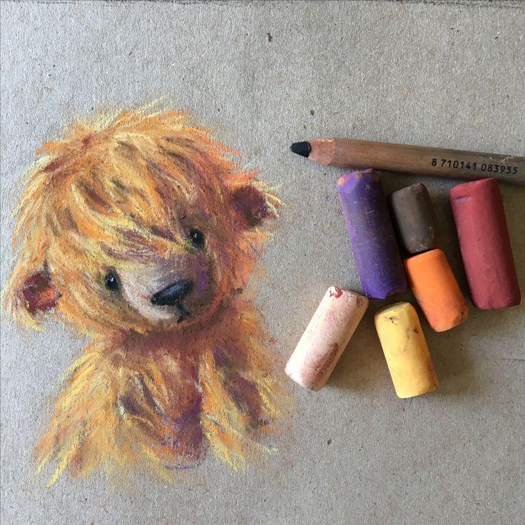 Soft pastel drawing painting of artist teddy bear by Eli Bichita