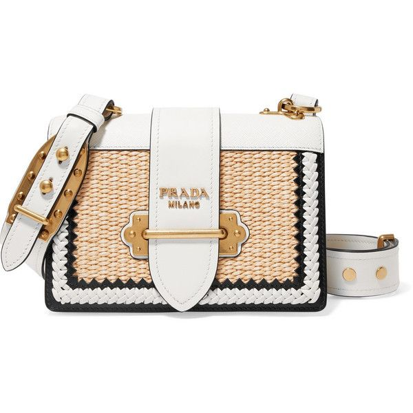 Prada Cahier whipstitched leather and raffia shoulder bag found on Polyvore featuring bags, handbags, shoulder bags, white, white handbag, white purse, prada shoulder bag, leather purses and leather shoulder bag