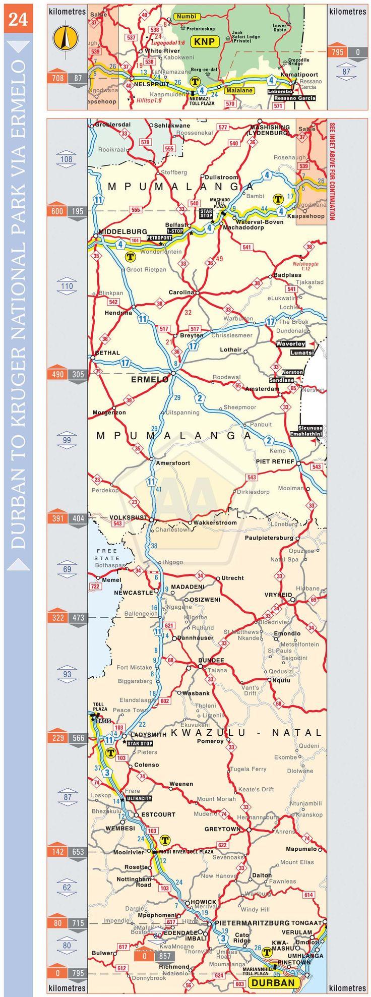 Durban to Kruger National Park via Ermelo | Automobile Association