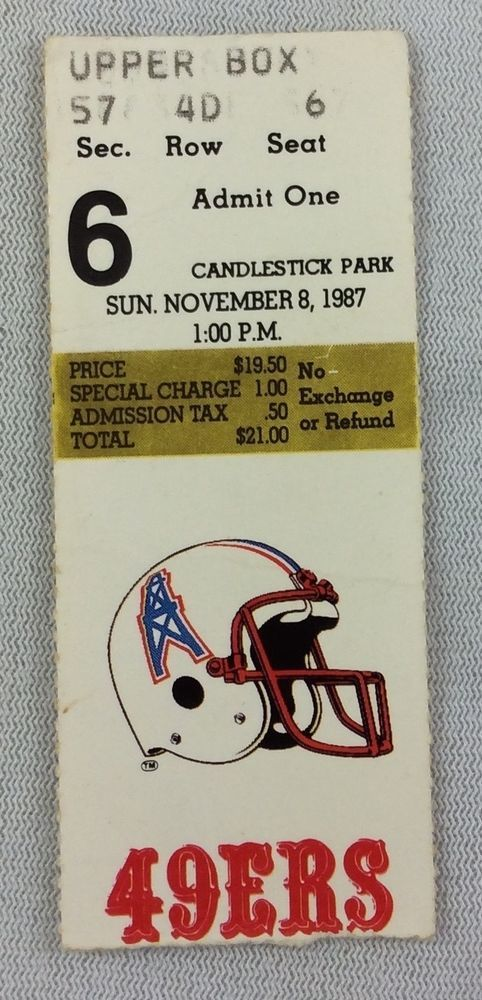 nfl 1987 11/08 houston oilers at san francisco 49ers ticket stub from $14.95