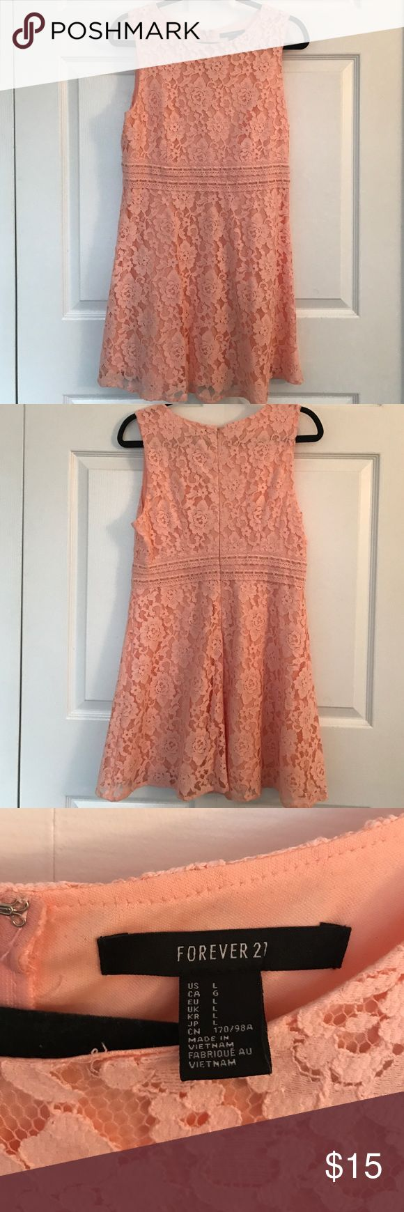 Forever 21 Peach Lace Dress Only wore once. In great condition. Size large. 72% cotton 28% nylon. From a smoke free and pet free home. Forever 21 Dresses