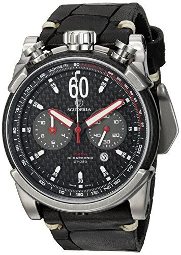 CT Scuderia Men's 'Fibra di Carbonio' Swiss Quartz Stainless Steel and Leather Casual Watch, Color:Black (Model: CS10158)     #Easter #ForHim #ForHer #Holidays #GiftIdeas #Gifts #Affiliate