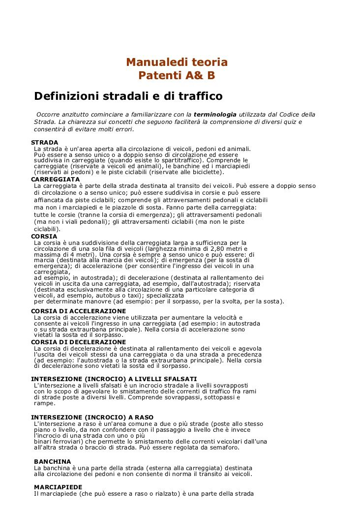 Manuale di teoria di scuola guida patente a & b