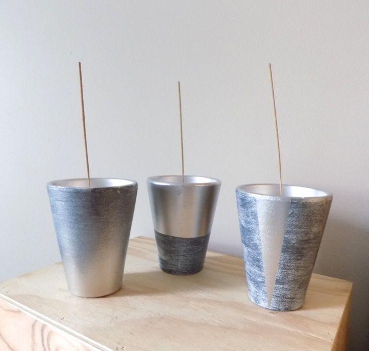 Lot de 3 pots en poterie détournés en porte-encens : Accessoires de maison par recup-by-eli-2016