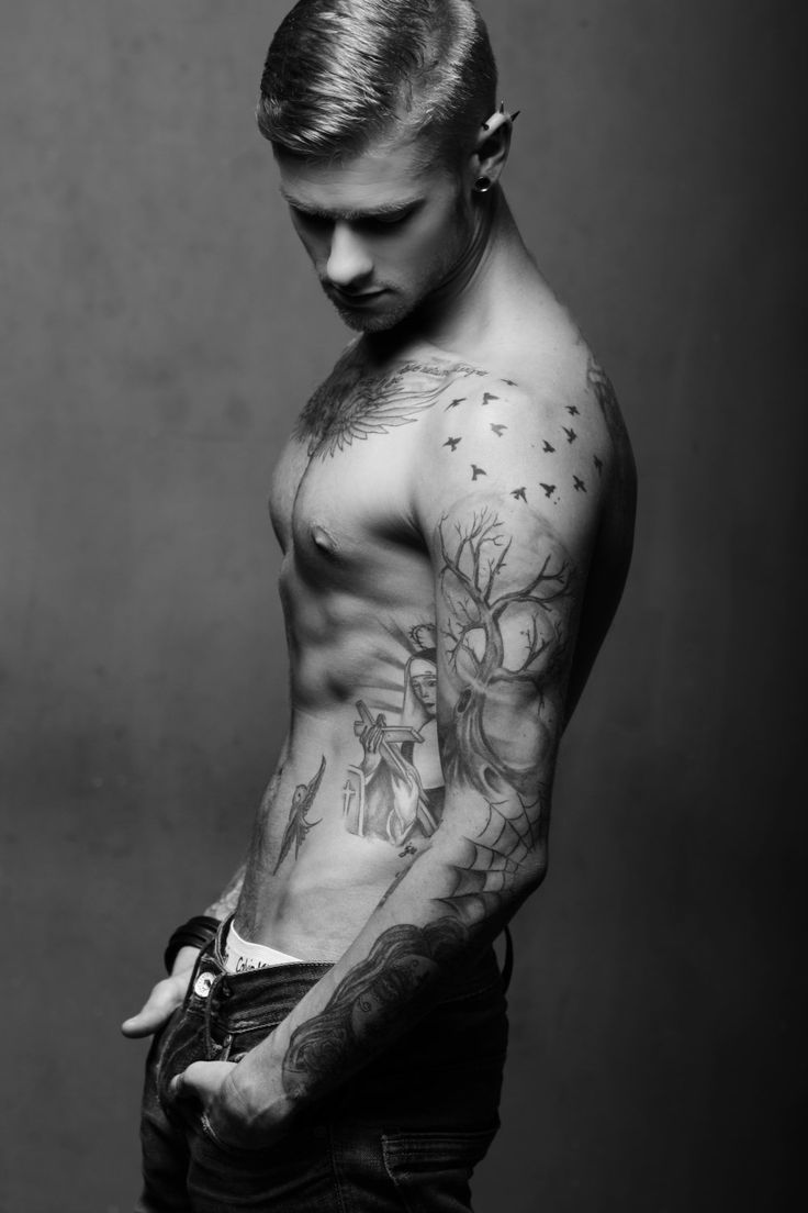 75 black and white tattoos for men masculine ink designs - Sleeve Tree And Birds Tattoo Man