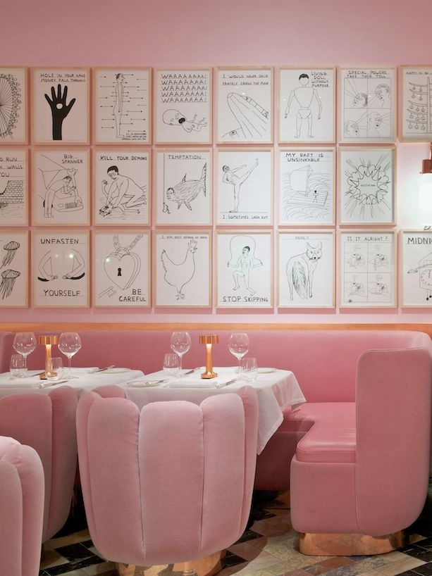 The Gallery restaurant at sketch London, beautiful pink interior design with rose gold detailing. Luxury London restaurant currently featured on www.martynwhitedesigns.com