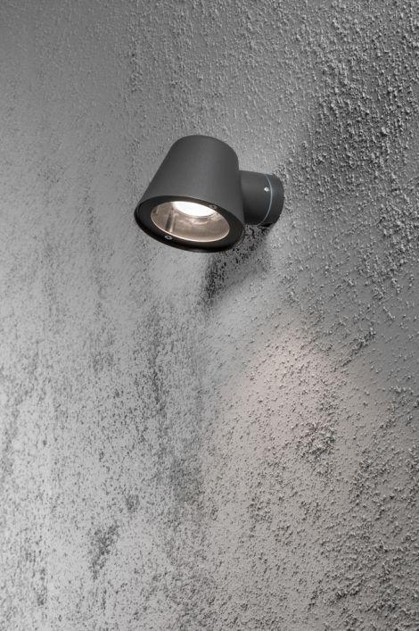 wandlamp 10045: industrie, look, aluminium, antraciet