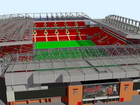 Rendered 3-D Model of a redeveloped Anfield. #LFC