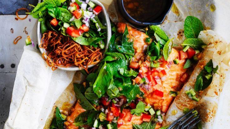 Baked salmon with fresh Asian salsa