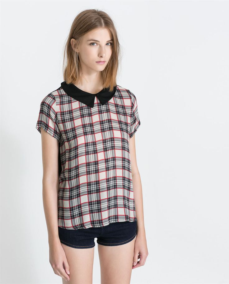 ZARA - NEW THIS WEEK - COMBINED CHECKERED T-SHIRT WITH COLLAR