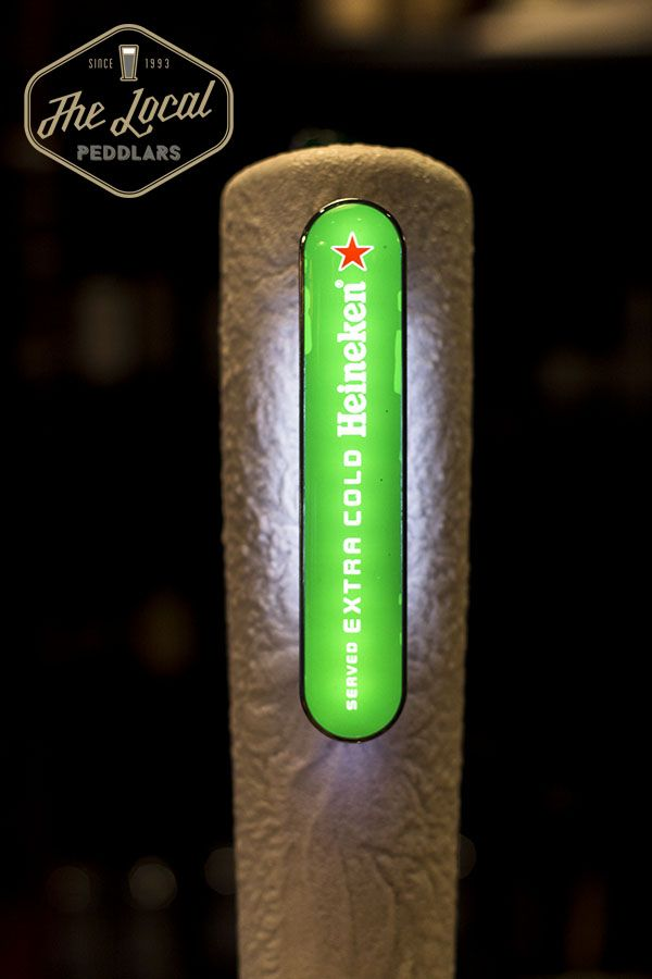 Heineken draught on tap. Quality premium beer for your local enjoyment,