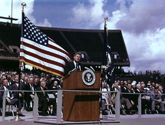 """""""We Choose to Go to the Moon!"""" A snippet of this speech is in scrapbook one of Countdown.   JFK RICE UNIVERSITY MOON SPEECH Sept. 12, 1962"""