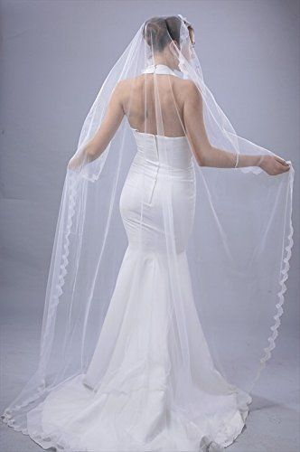 BRIDAL WEDDING MANTILLA VEIL IVORY 1 TIER LONG CHAPEL LENGTH 1/2IN LACE EDGE  - Click image twice for more info - See a larger selection of wedding veils at http://zweddingsupply.com/product-category/wedding-veils/ - woman , wedding fashion, wedding style, wedding ideas, bride .