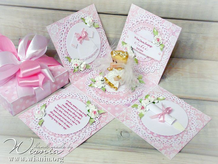 Hand made by Wisnia, Exploding box for baby girl