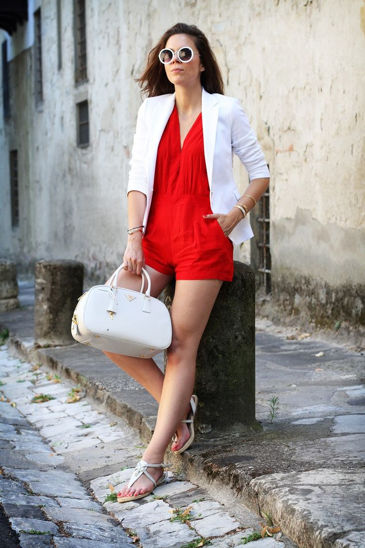 Ides for fashion week looks!!  --  chic and casual outfit with a red jumpsuit and a white blazer for the fashion blogger irenecloset  www.ireneccloset.com