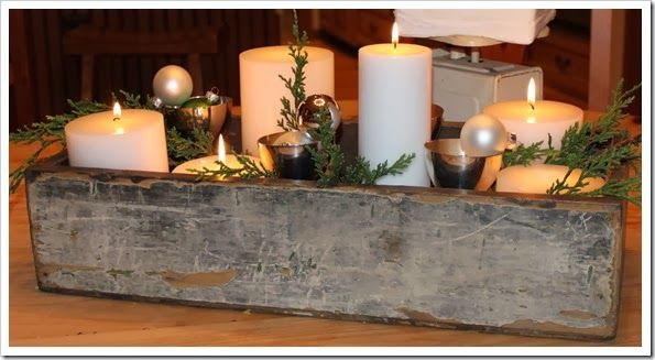 Chippy old seed box for holidays table centerpiece