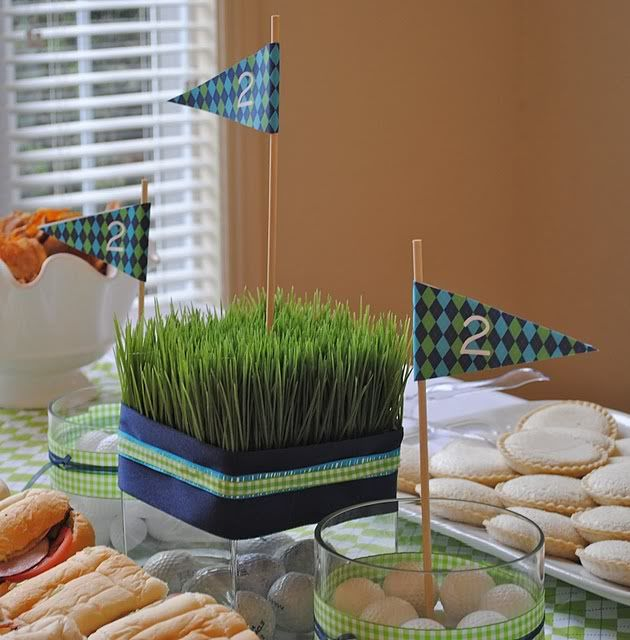 Grass center pieces (with baseballs and flowers?)