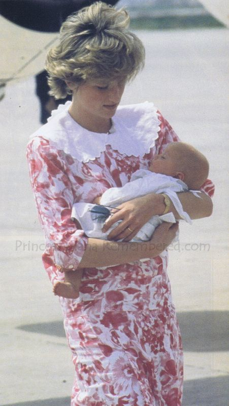 "LIE: Either Princess Diana with Prince William, or Diana with her ""secret"" daughter. TRUTH: April 1987, Princess Diana tenderly holding her God-daughter, Lady Mary Luise Wellesley, daughter of the Marquess of Douro. Diana was pictured at Granada airport in Andalusia, Spain preparing for her return flight to Britain after a four day visit to Spain. Charles and Diana had been guests of baby Mary's parents at their estate in Granada"