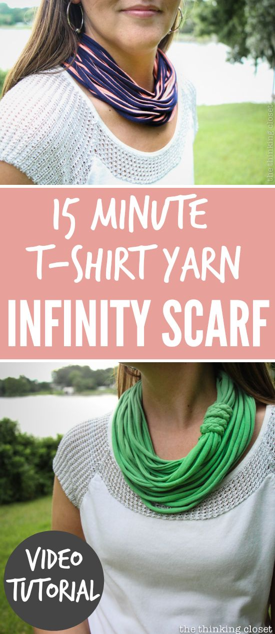 15 Minute T-Shirt Yarn Infinity Scarf. | This is one of those rare projects that really only takes 15 minutes. On your first try! This entertaining video tutorial will walk you through every fun step in the process. So, grab an old t-shirt from the closet and prepare to transform it into a chic infinity scarf!