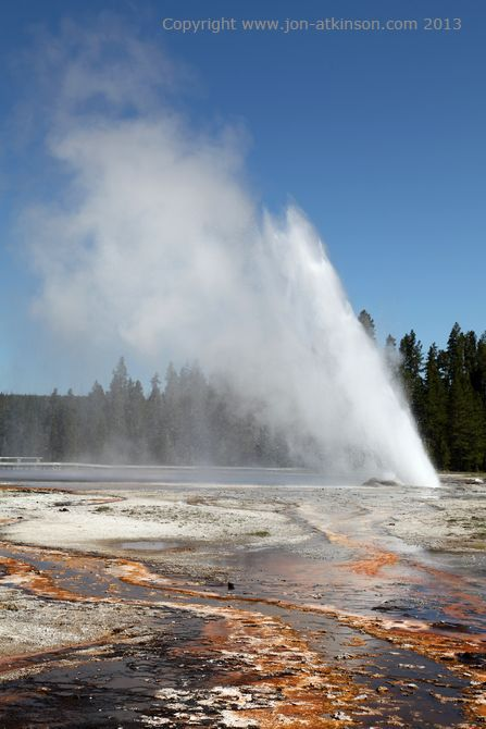 Daisy Geyser, Yellowstone National Park: Daisy Geyser is part of the Daisy Group. It was named prior to 1890 by the Hague Party. It erupts every 110 to 240 minutes for a period of 3 to 5 minutes and is one of the most predictable geysers in the park. Its fountain erupts at an angle to the ground and reaches a height of 75 feet (23 m).