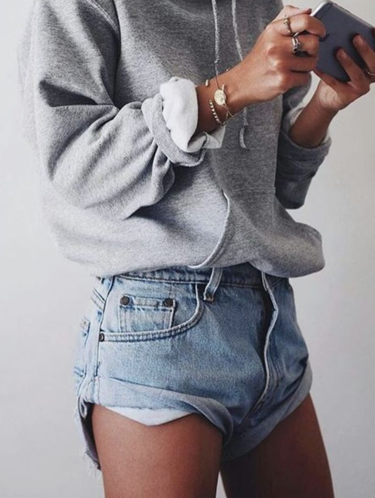 rolled up sweatshirt | gray sweatshirts | light denim rolled shorts | casual / lazy | Saturdays
