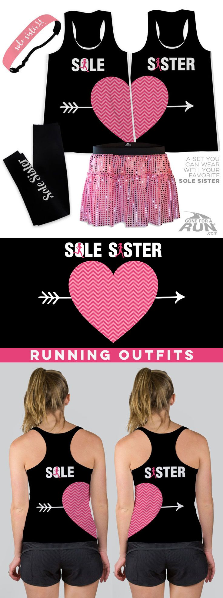 Sole Sisters inspire each other so run together with coordinating running outfits that form a heart when worn together. This set consists of two tank tops.