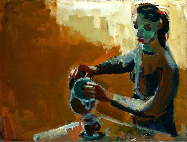 David park- woman with coffeepot, 195D
