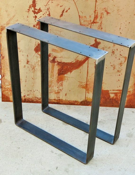 Awesome contemporary table leg design. Width is 24 or can be shorter if requested. Table legs are made out of 3x 3/8 flat bar steel.  Material: -3x3/8 flat bar -4x3/16 flat bar top plate Order comes with set of 2 legs with two finish options. Finish Options that are included in price: -Natural Steel (Rust Prone!!) -Red Primer  Extra Cost for Finish and would have to be purchased through custom order:: -Clear coat (no rust) $35 -Any Powder Coating Color $50