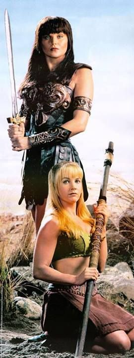 """""""Xena: Warrior Princess"""" Lucy Lawless as Xena and Renee O'Connor as Gabrielle. Show was a spin-off of the television series """"Hercules: The Legendary Journeys"""""""