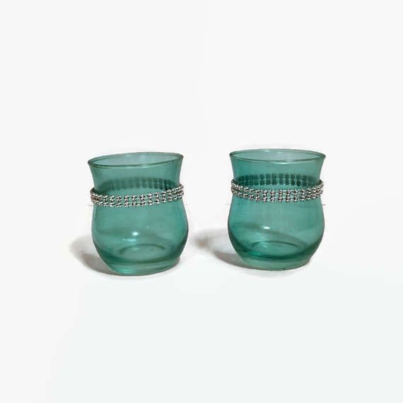 Set Two Teal Votive Holders Teal With Bling Votive Holders