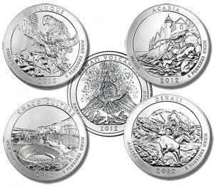 Key Date: 2012 America The Beautiful Complete 5 Coin Set The 2012 America the Beautiful 5 ounce silver coin set is without question the most difficult to assemble in the series. It contains the top three most valuable coins: the Hawaii, Acadia and Denali.  Each set contains the five coins issued during 2012 and each will be sealed in a snap-shut capsule and is guaranteed to be in Brilliant, Uncirculated condition.