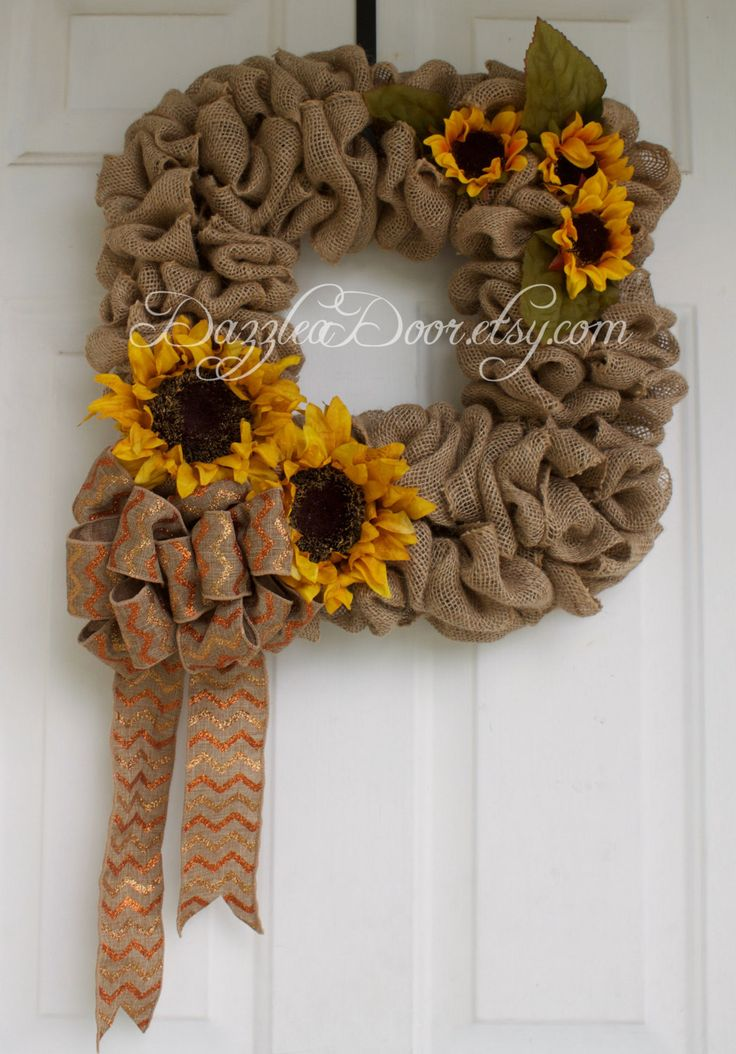 Burlap and Sunflower Square Autumn Wreath, Fall Wreath, Square Wreath, Burlap Wreath, Autumn Wreath - pinned by pin4etsy.com