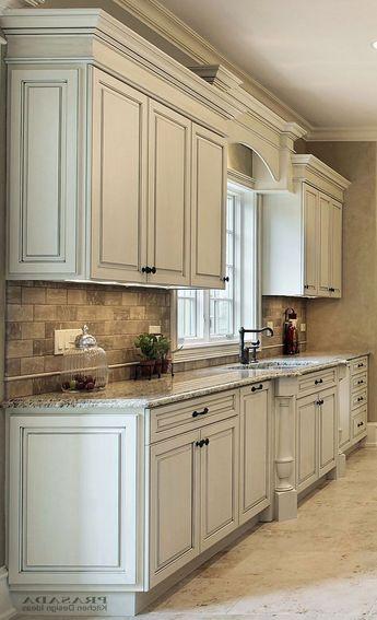 White Kitchen Cabinets With Diffe Color Island New Granite Countertop Decorators Por
