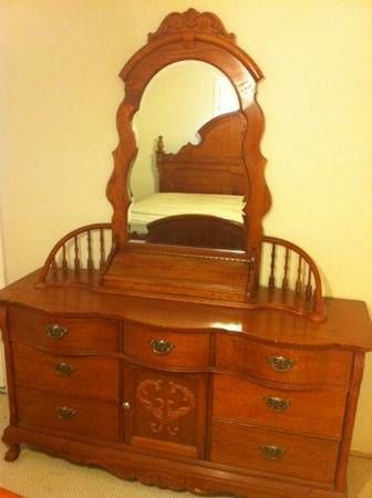 Lexington Victorian Sampler Collection Door Triple Dresser Base 391 235  Spindle Mirror. $600.