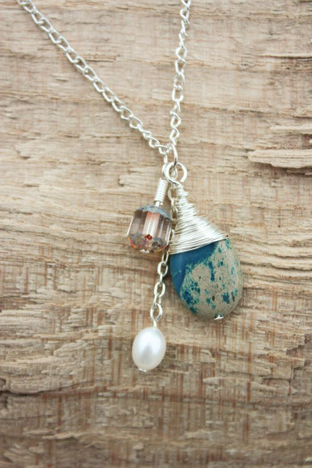 Turquoise, Pearl and Czech Glass 3 Bead Charm Necklace £18.00