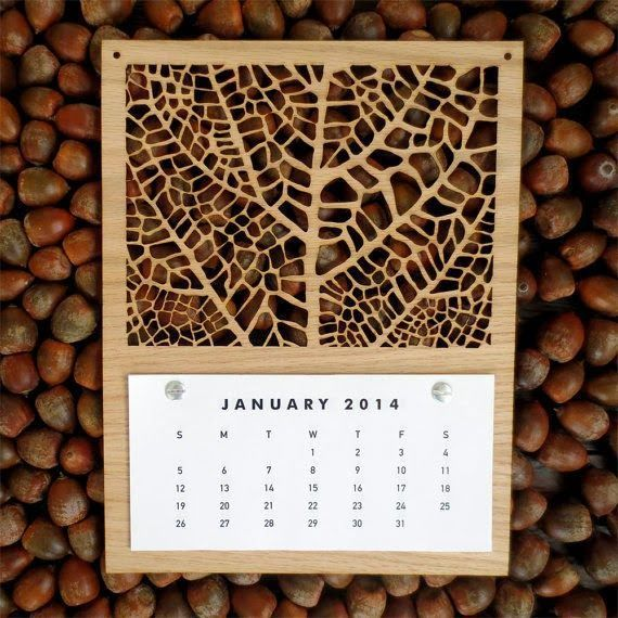 Laser cut wooden leaf skeleton calendar