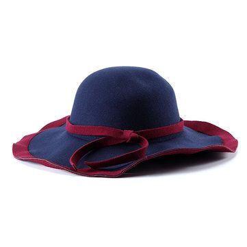 Women Ladies Vintage Wool Felt Flat Wide Brim Top Cap Bow Band Jazz Hat at Banggood