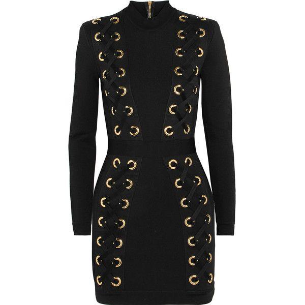 Balmain Lace-up stretch-jersey mini dress ($2,805) ❤ liked on Polyvore featuring dresses, balmain, stretch jersey, body con dresses, lace up dress, lace up front dress and zipper dress