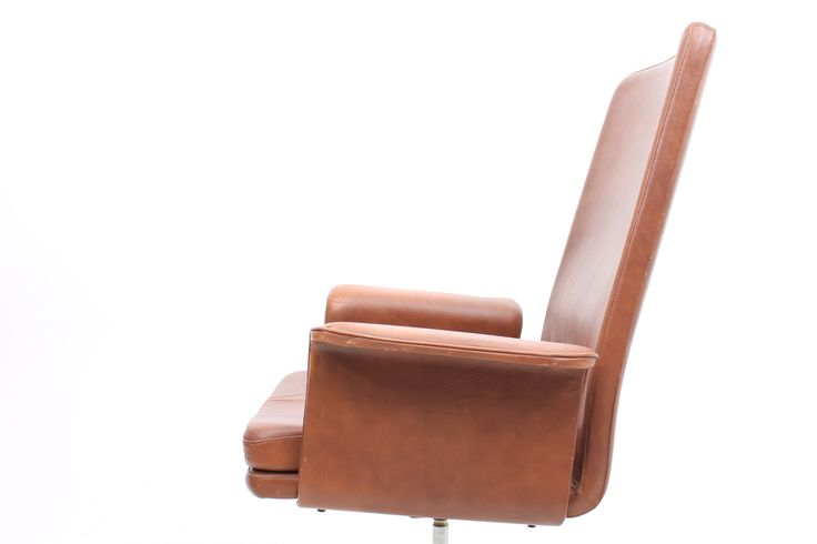Office chair in leather with a metal base. Designed by Hans Olsen in the late 1960s and produced up until mid 1970s by C.S.Møbler, Denmark.  www.reModern.dk