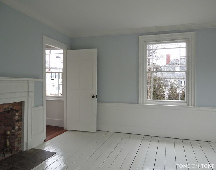 For another bedroom, the walls are painted Benjamin Moore Gray Sky - a true sky blue. This room gets endless sunshine so the blue is tempere...