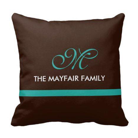 Ribbon Brown Teal Family Monogram Design Throw Pillow #monogram #gifts #cushions #pillows