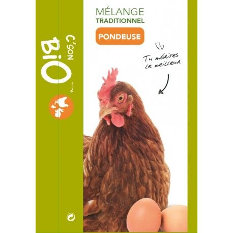 Mélange Traditionnel Poule Pondeuse C'son bio sans ogm en grains concassés 20 kg made in France Céréales du Sud Ouest https://hope-pet-food.com/volailles-bio-ab/60-melange-traditionnel-poule-pondeuse-c-son-bio-sans-ogm-en-grains-concasses-20-kg.html