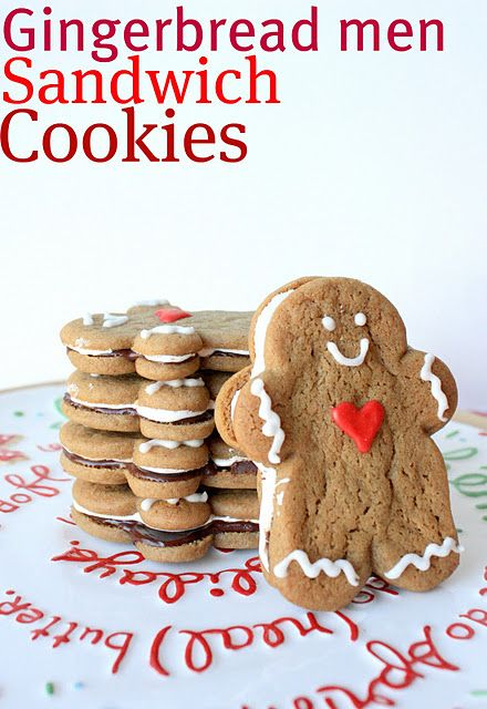 Gingerbread Men Sandwich Cookies {with marshmallow filling!}: Gingerbread Sandwiches, Gingers Cookies, Christmas Cookies, Sandwiches Cookies, Men Sandwiches, Gingerbread Man, Sandwich Cookies, Gingerbread But, Christmas Gingerbread