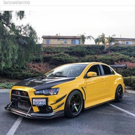 Evo X in canary yellow