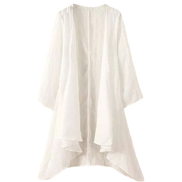 Pink Queen White Irregularly Plain Plus Size Womens Cape Blazer ($20) ❤ liked on Polyvore featuring outerwear, jackets, blazers, sweaters, white, white cape, white jacket, plus size blazers, cape blazer and white cape coat