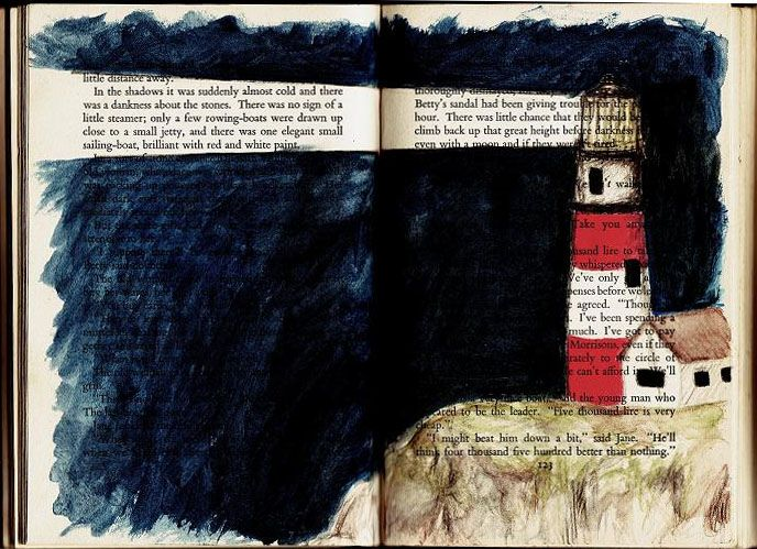 Artwork for the wall: Lighthouse - Acrylic painting on book pages by Molly Rhoda