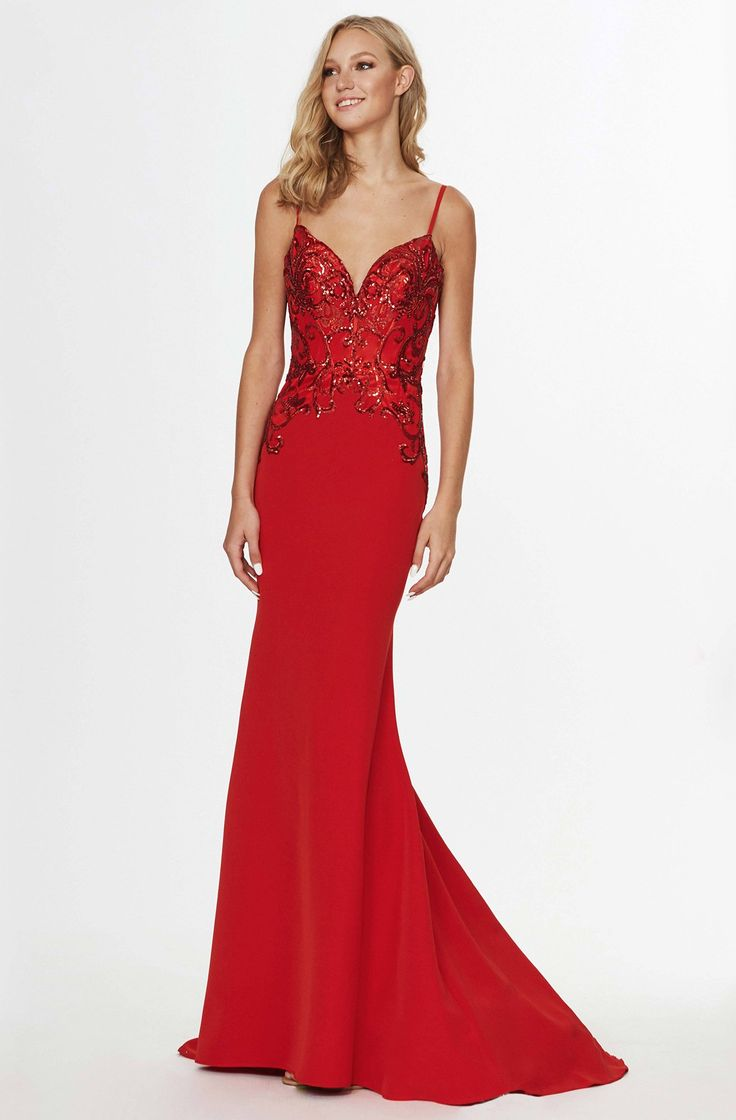 Angela & Alison – 91067 Sequined V-Neck Evening Gown