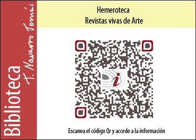Hemeroteca: Código QR de acceso a la colección de revistas vivas de Arte, de la Biblioteca Tomás Navarro Tomás.