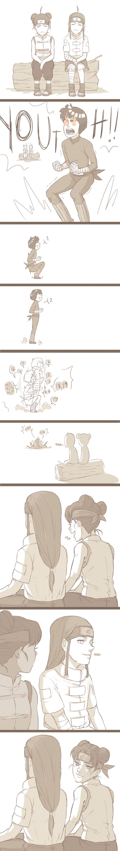 NejiTen bonding over Lee's goofiness. #naruto